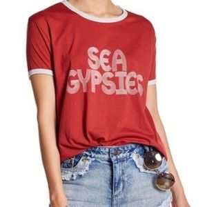 Sea Gypsies Red Retro Ringer Short Sleeve Tee